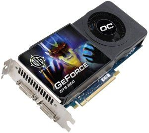 Picture of BFG BFGRGTS2501024OCE GeForce GTS 250 512MB 256-bit GDDR3 PCI Express 2.0 x16 HDCP Ready SLI Support Video Card